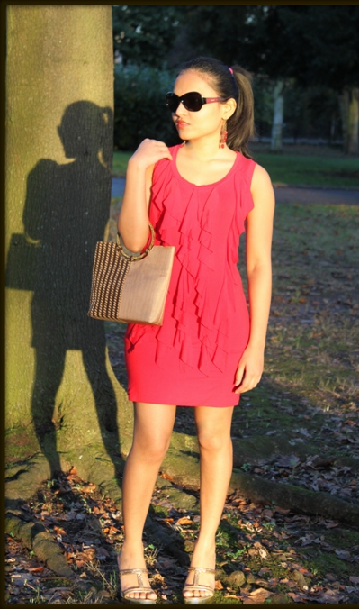 Outfit of the Day Red Ruffle Dress with Gold Accents