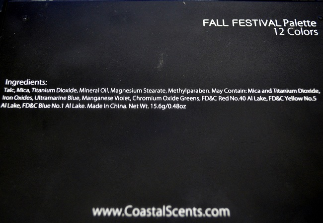 Coastal Scents Fall Festival Palette Ingredients