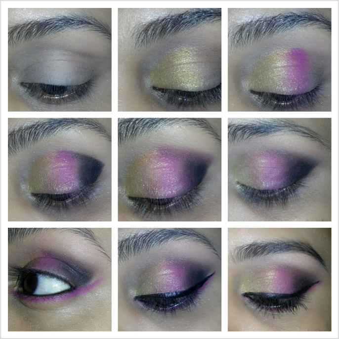 Black Outfit with Pink and Gold Inspired Party Eye Makeup ...