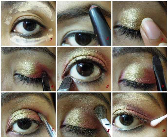 Bridal Eye Makeup 2018 Step By Step : Gold and Maroon Bridal Eye Makeup
