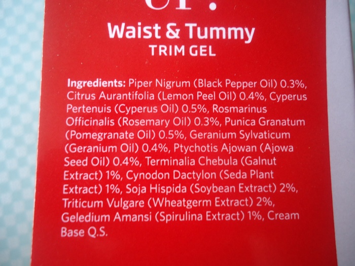 Ingredients1 VLCC Shape Up Waist and Tummy Trim Gel Review