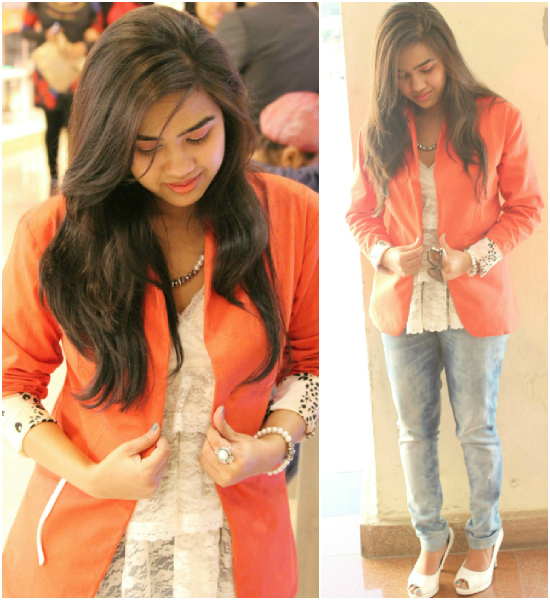 Outfit+of+the+Day+Tangerine+Jacket+and+White+Lace+Top