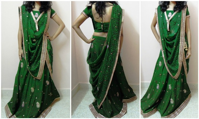The V pallu 7 Different Ways to Drape Lehenga Dupatta