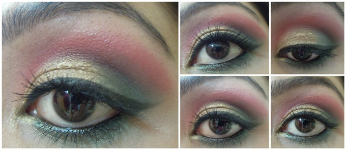 Gold+Green+and+Red+Ethnic+Eye+Makeup+Tutorial