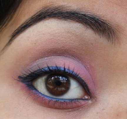 pink and blue college girl eye makeup tutorial