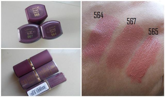Lakme Enrich Satins Lipsticks 564, 565, 567Lakme Lipstick Shade Card With Shade Number With Price