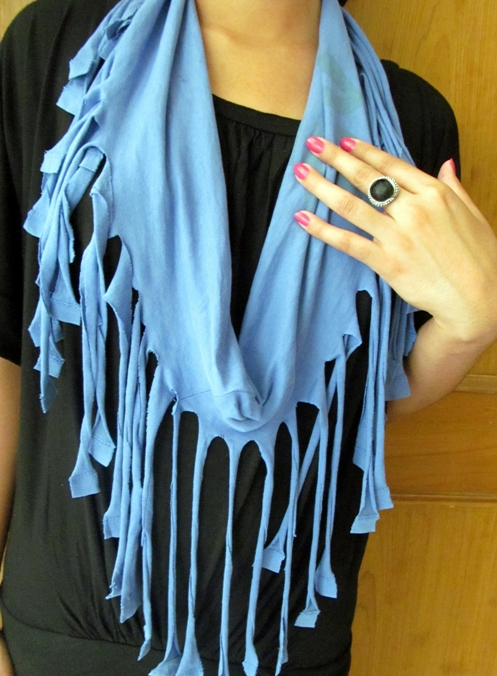 how to make a fringe scarf from t shirt do it yourself
