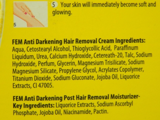 Fem Anti Darkening Hair Removal Cream iingredients