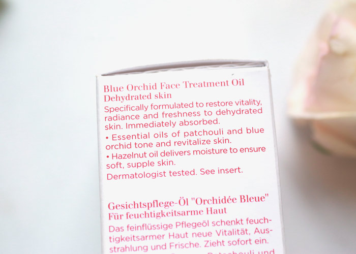 clarins blue orchid face treatment oil claims