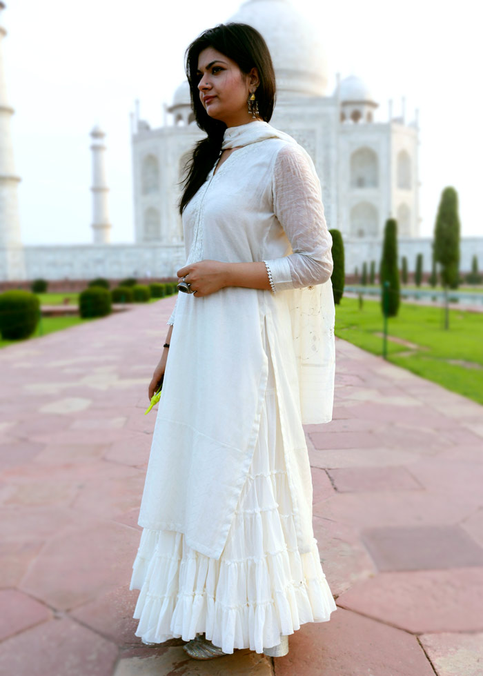 Silver White Skirt With Kurti