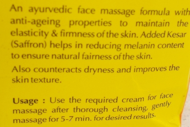 Nature's Essence Saffron Care Kesar Fairness Massage Cream ingredients