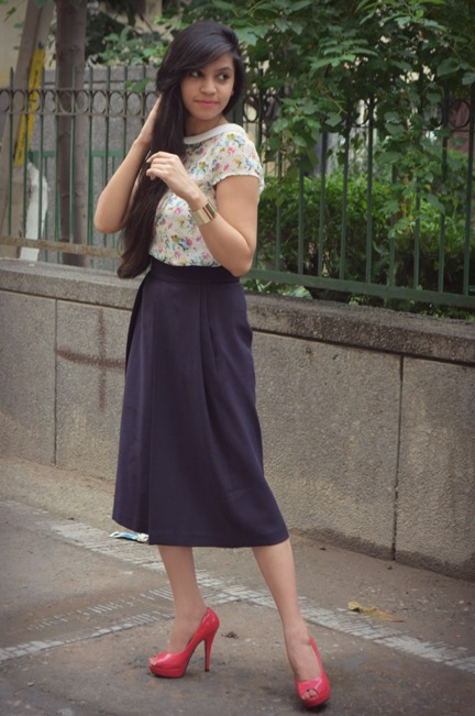 Navy Blue Midi Skirt 2