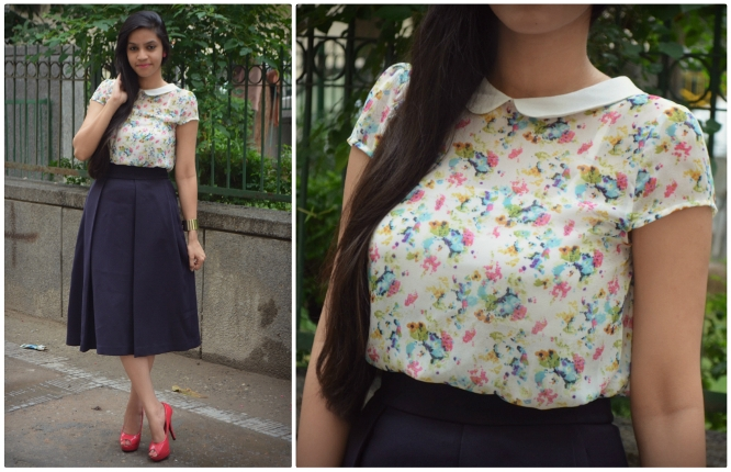 Navy Blue Midi Skirt 3