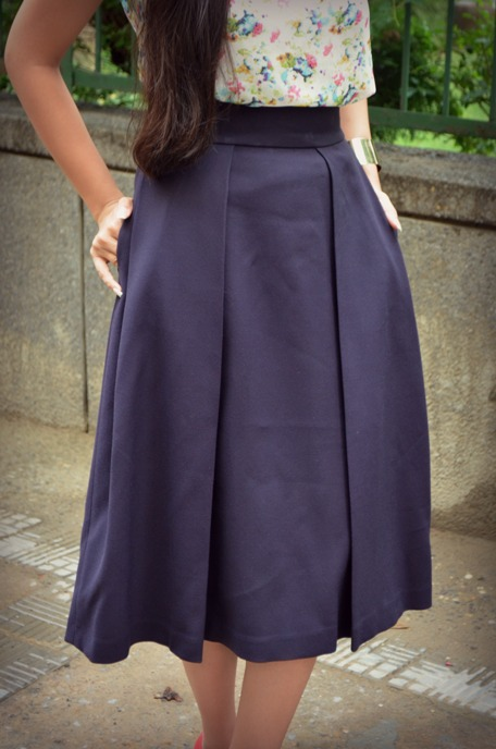 Navy Blue Midi Skirt 4