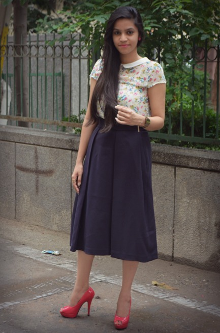 Navy Blue Midi Skirt 5