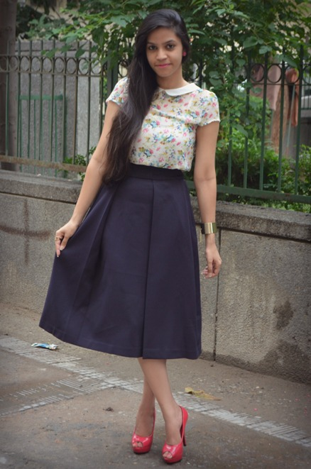 Outfit+of+the+Day+Navy+Blue+Midi+Skirt