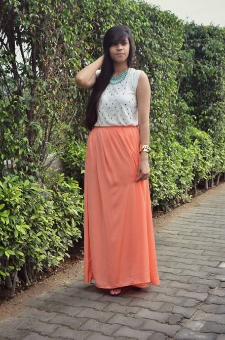 Outfit+of+the+Day+Peach+Maxi+Skirt
