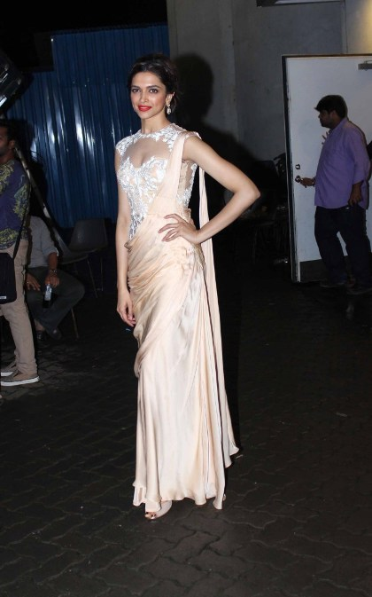 Actress Deepika Padukone in Silk Saree Gown @ Chennai Express Promotions