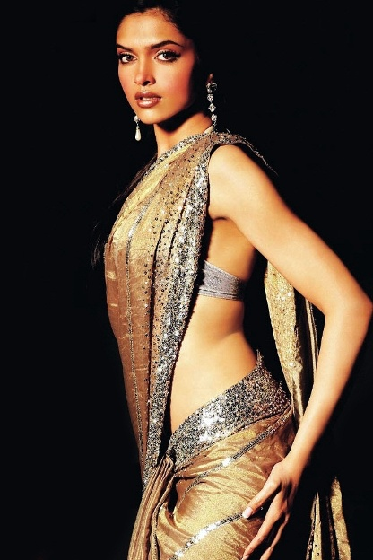 Deepika Padukone in a golden saree