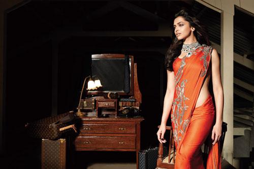 Deepika Padukone in orange saree