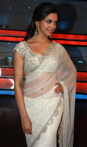 Deepika Padukone in transparent white saree
