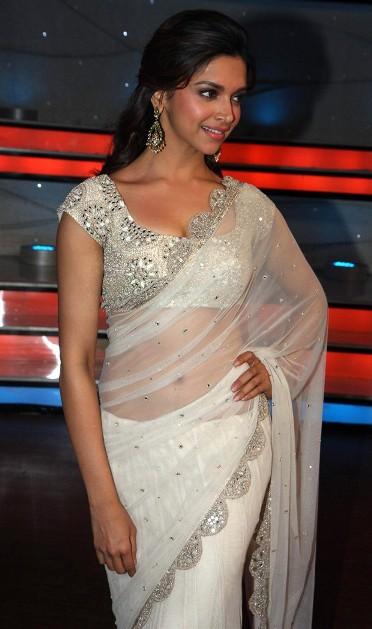 Deepika Padukone in transparent white saree