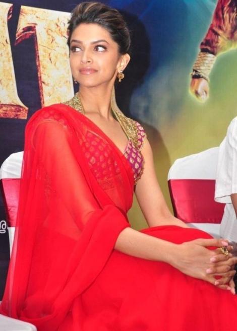 Deepika in red saree