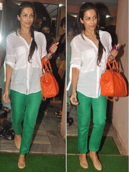 Malaika Arora orange bag