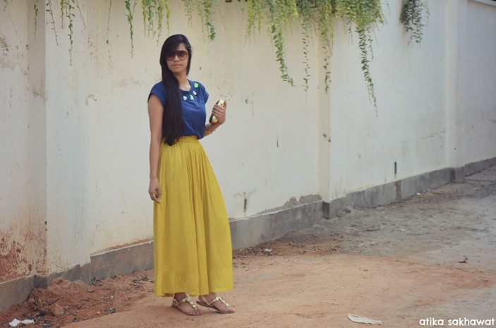 Mustard skirt and blue top