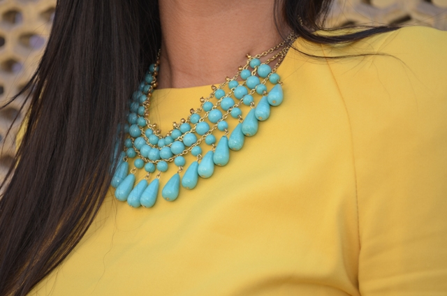 Outfit-of-the-Day-Yellow-Dress-with-Turquoise-Necklace-5