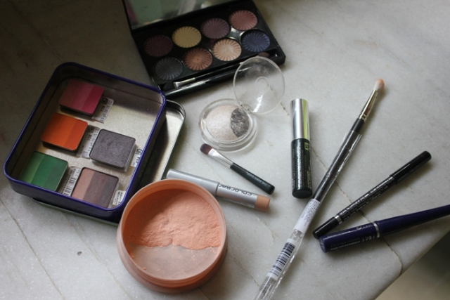 Pink and orange eye makeup products