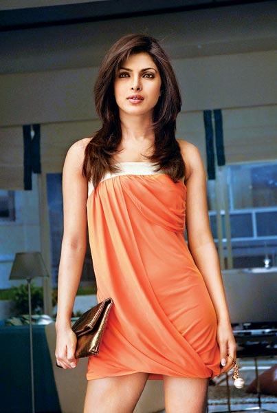 Priyanka Chopra orange dress