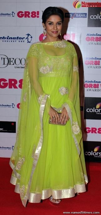 Asin in green dress