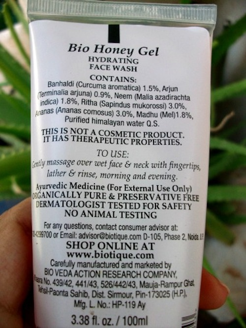 Biotique Hydrating Face Wash Bio Honey Gel ingredients