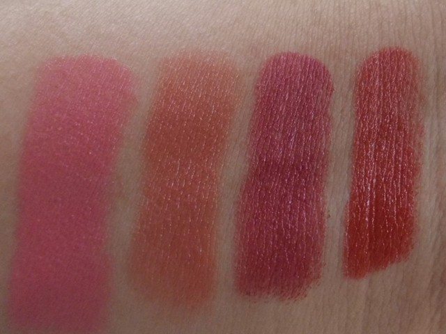 Colorbar Creme Touch Lipsticks Pink Carnation,Coco Cuddle,Blossom & Tropical Pink swatches
