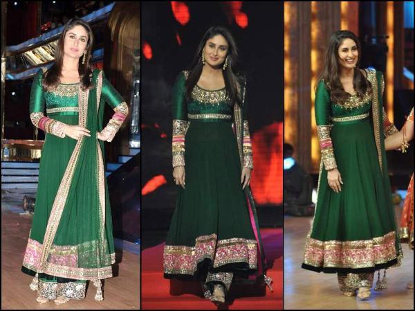 Kareena Kapoor Green Art Silk Anarkali Suit di 2020 | Gaya ...  |Kareena In Green Anarkali Dress
