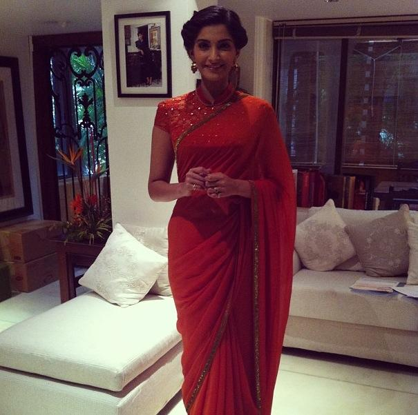 Sonam Kapoor in red saree