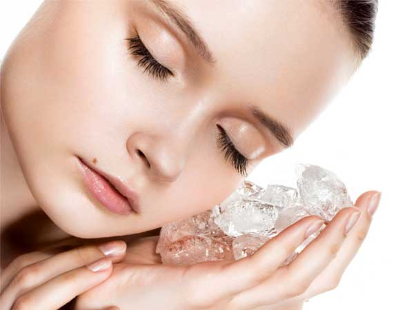 Get rid of pimples with ice