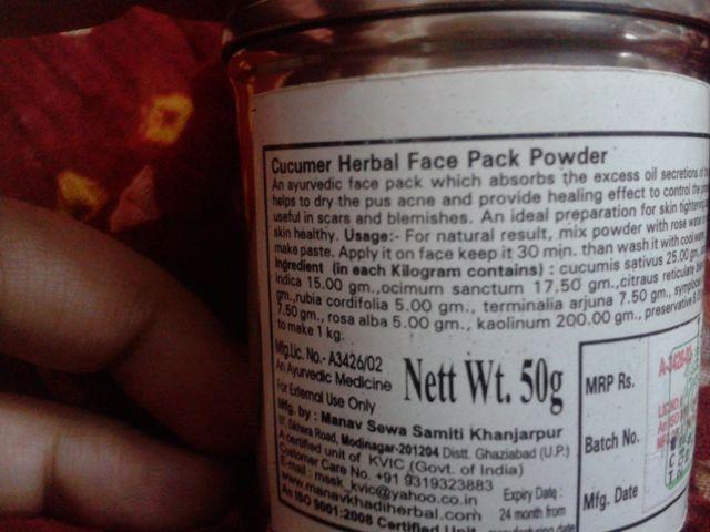 Khadi Herbal Face Pack Powder - Cucumber (6)