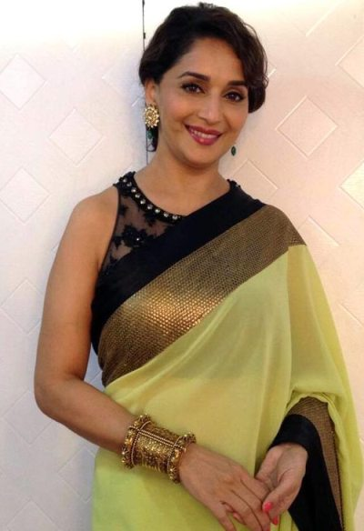 Madhuri Dixit Green Saree Belly Button Lilly Singh