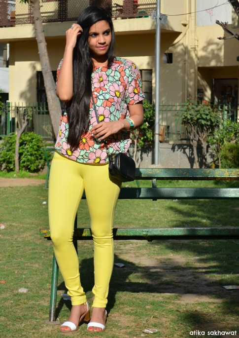 Outfit of the Day Floral Blouse with Yellow Leggings