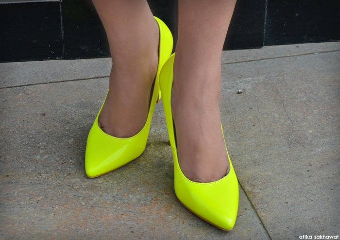 Outfit Of The Day Midi Dress With Neon Shoes