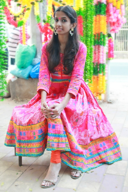 Outfit of the Day:  Phulkari Print Anarkali