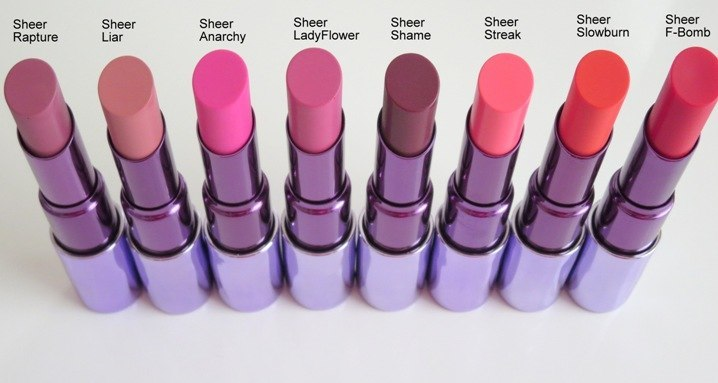 Urban Decay Sheer Revolution Lipsticks - Preview and Swatches Overall ...