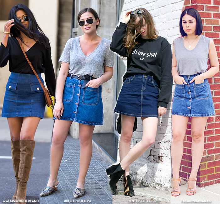 9 ways to style denim skirts