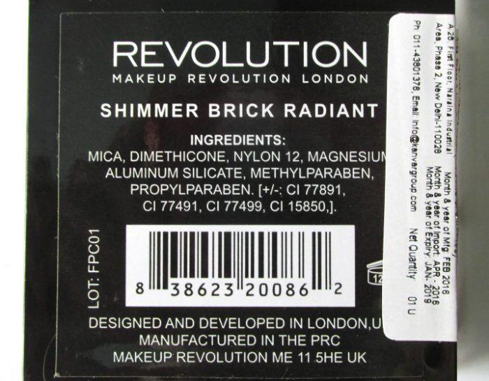 Makeup Revolution London Radiant Shimmer Brick Palette ingredients