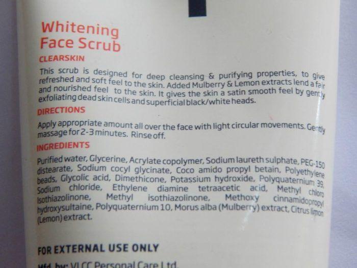 VLCC Spring Whitening Face Scrub Claims
